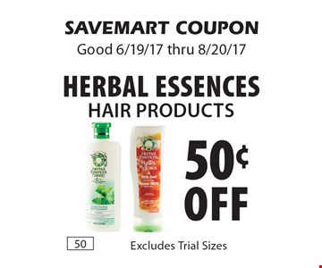 50¢ off Herbal Essences Hair Products. Excludes Trial Sizes. SAVEMART COUPON Good 6/19/17 thru 8/20/17