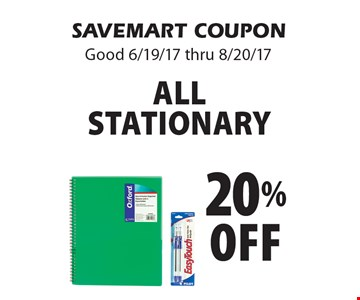 20% off All Stationary. SAVEMART COUPON. Good 6/19/17 thru 8/20/17