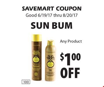 $1.00 off Sun Bum Any Product. SAVEMART COUPON. Good 6/19/17 thru 8/20/17.