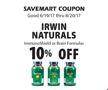 10%off Irwin Naturals Immuno Shield or Brain Formulas. SAVEMART COUPON Good 6/19/17 thru 8/20/17