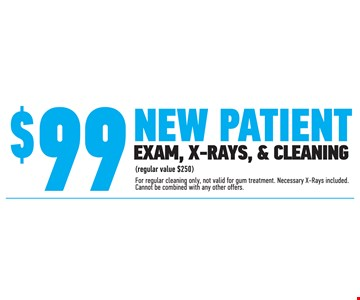 $99 New Patient Exam, X-Rays, and Cleaning