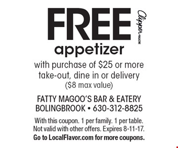 FREE appetizer with purchase of $25 or more take-out, dine in or delivery ($8 max value). With this coupon. 1 per family. 1 per table. Not valid with other offers. Expires 8-11-17.Go to LocalFlavor.com for more coupons.