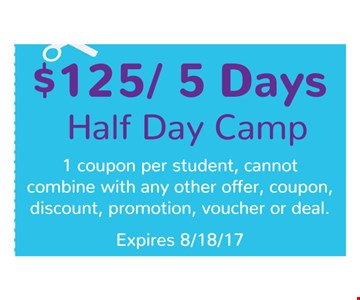 $125 5 day half day camp