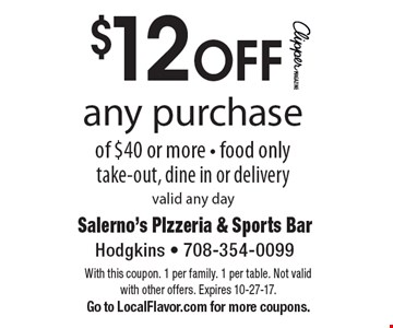$12 OFF any purchase of $40 or more. Food only. Take-out, dine in or delivery. Valid any day. With this coupon. 1 per family. 1 per table. Not valid with other offers. Expires 10-27-17. Go to LocalFlavor.com for more coupons.