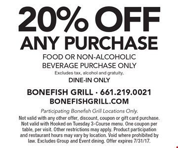 20% OFF ANY purchase. Food or non-alcoholic beverage purchase only. Excludes tax, alcohol and gratuity. Dine-in only. Participating Bonefish Grill Locations Only. Not valid with any other offer, discount, coupon or gift card purchase. Not valid with Hooked on Tuesday 3-Course menu. One coupon per table, per visit. Other restrictions may apply. Product participation and restaurant hours may vary by location. Void where prohibited by law. Excludes Group and Event dining. Offer expires 7/31/17.