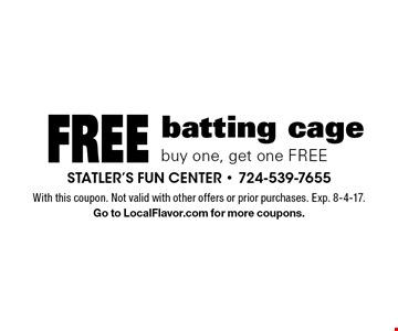 Free batting cage buy one, get one FREE. With this coupon. Not valid with other offers or prior purchases. Exp. 8-4-17. Go to LocalFlavor.com for more coupons.