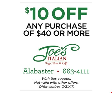 $10 off any purchase of $40 or more