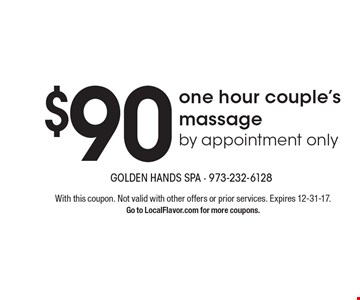 $45 one hour massage or gift card. With this coupon. Not valid with other offers or prior services. Expires 12-31-17. Go to LocalFlavor.com for more coupons.
