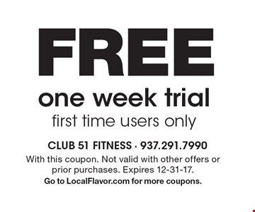 FREE one week trial first time users only. With this coupon. Not valid with other offers or prior purchases. Expires 12-31-17. Go to LocalFlavor.com for more coupons.
