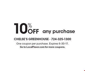 10% Off any purchase. One coupon per purchase. Expires 6-30-17. Go to LocalFlavor.com for more coupons.