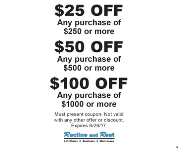 $100 OFF Any purchase of $1000 or more. $50 OFF Any purchase of $500 or more. $25 OFF Any purchase of $250 or more. Must present coupon. Not valid with any other offer or discount. Expires 6/26/17.
