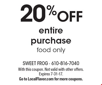 20% OFF entire purchase, food only. With this coupon. Not valid with other offers. Expires 7-31-17. Go to LocalFlavor.com for more coupons.
