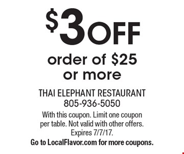 $3 OFF order of $25 or more. With this coupon. Limit one coupon per table. Not valid with other offers. Expires 7/7/17. Go to LocalFlavor.com for more coupons.