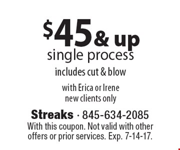 $45 & up single process includes cut & blow, with Erica or Irene. New clients only. With this coupon. Not valid with other offers or prior services. Exp. 7-14-17.