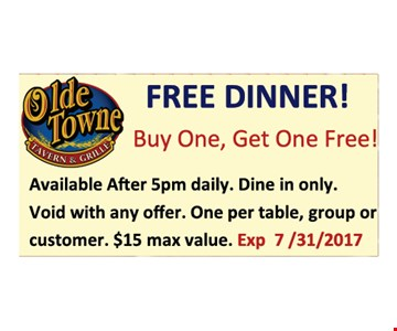 Free Dinner! Buy one, get one free