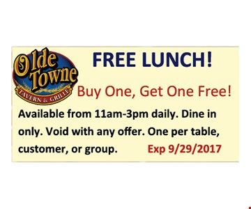 Buy one get one free lunch