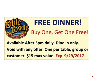 Buy one get one free dinner
