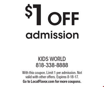 $1 OFF admission. With this coupon. Limit 1 per admission. Not valid with other offers. Expires 8-18-17.Go to LocalFlavor.com for more coupons.