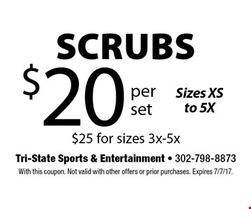 $20 per set Scrubs Sizes XS