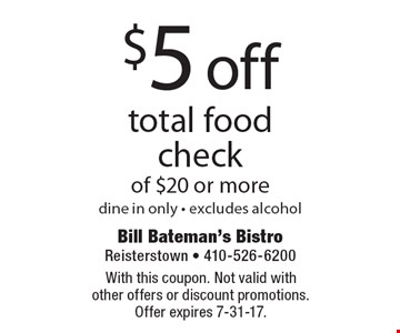 $5 off total food check of $20 or more, dine in only - excludes alcohol. With this coupon. Not valid with other offers or discount promotions. Offer expires 7-31-17.