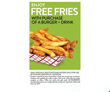 free fries with purchase of a burger + Drink