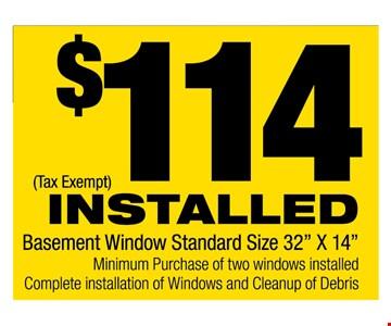 $114 installed