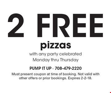 2 Free pizzas with any party celebrated Monday thru Thursday. Must present coupon at time of booking. Not valid with other offers or prior bookings. Expires 2-2-18.