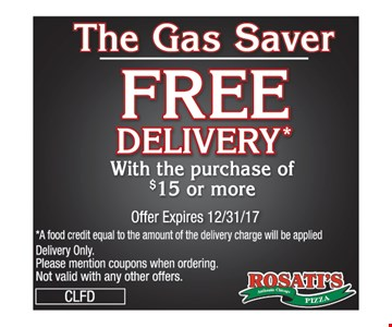 Free Delivery with $15 purchase or more