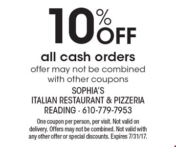 10% Off all cash orders offer may not be combined with other coupons. One coupon per person, per visit. Not valid on delivery. Offers may not be combined. Not valid with any other offer or special discounts. Expires 7/31/17.