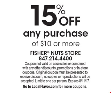 15% OFF any purchase of $10 or more. Coupon not valid on case sales or combined with any other discounts, promotions or in-store coupons. Original coupon must be presented to receive discount; no copies or reproductions will be accepted. Limit to one per person. Expires 8/11/17. Go to LocalFlavor.com for more coupons.