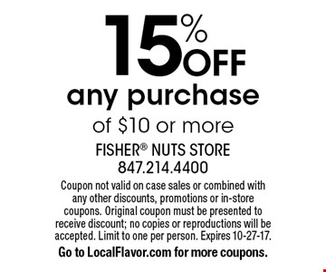 15% off any purchase of $10 or more. Coupon not valid on case sales or combined with any other discounts, promotions or in-store coupons. Original coupon must be presented to receive discount; no copies or reproductions will be accepted. Limit to one per person. Expires 10-27-17.Go to LocalFlavor.com for more coupons.
