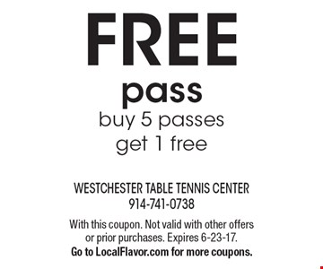FREE pass buy 5 passes get 1 free. With this coupon. Not valid with other offers or prior purchases. Expires 6-23-17. Go to LocalFlavor.com for more coupons.