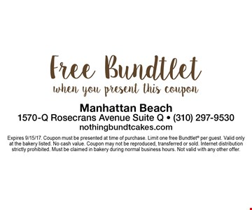 Free bundtlet when you present this coupon. Expires 9/15/17. Coupon must be presented at time of purchase. Limit one free Bundtlet per guest. Valid only at the bakery listed. No cash value. Coupon may not be reproduced, transferred or sold. Internet distribution strictly prohibited. Must be claimed in bakery during normal business hours. Not valid with any other offer.