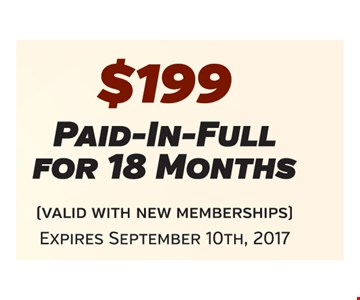 $199 Paid-In-Full For 18 Months