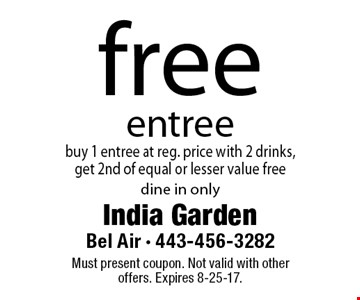 free entree buy 1 entree at reg. price with 2 drinks, get 2nd of equal or lesser value free. dine in only. Must present coupon. Not valid with other offers. Expires 8-25-17.