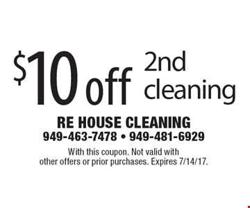 $10 off 2nd cleaning. With this coupon. Not valid with other offers or prior purchases. Expires 7/14/17.