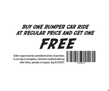 Buy one bumper car ride at regular price and get one free. Entire coupon must be surrendered at time of purchase, 1x use only no exceptions. Cannot be combined with any other offers, specials or coupons. Exp 8/31/2017.