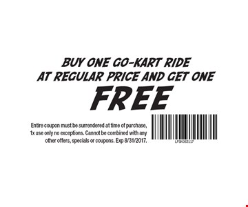 Buy one go-kart ride at regular price and get one free. Entire coupon must be surrendered at time of purchase, 1x use only no exceptions. Cannot be combined with any other offers, specials or coupons. Exp 8/31/2017.
