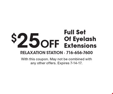 $25 Off Full Set Of Eyelash Extensions. With this coupon. May not be combined with any other offers. Expires 7-14-17.