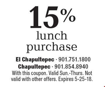 15% off lunch purchase. With this coupon. Valid Sun.-Thurs. Not valid with other offers. Expires 5-25-18.