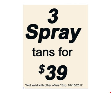 3 spray tans for $39