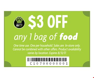 $3 off any 1 bag of food