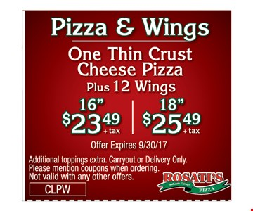 pizza & Wings one thin crust cheese pizza plus 12 wings  - 16