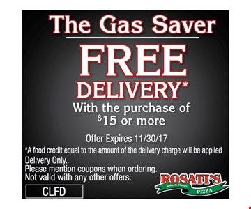 Free delivery with the purchase of $15 or more.