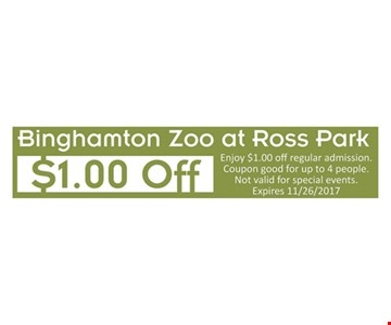 $1.00 off. Enjoy $1.00 off regular admission. Coupon good for up to 4 people. Not valid for special events. Expires 11/26/17.