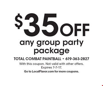 $35 Off any group party package. With this coupon. Not valid with other offers. Expires 7-7-17. Go to LocalFlavor.com for more coupons.
