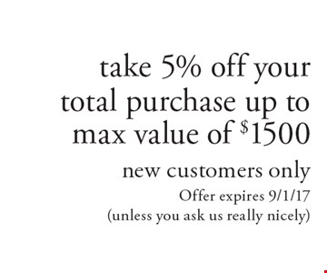 Take 5% off your total purchase up to max value of $1500, new customers only. Offer expires 9/1/17 (unless you ask us really nicely)