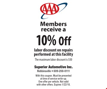 Members receive a 10% Off labor discount on repairs performed at this facility, The maximum labor discount is $50. With this coupon. Must be presented at time of service write-up. One offer per vehicle. Not valid with other offers. Expires 1/22/18.