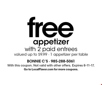 free appetizer with 2 paid entrees valued up to $9.99 - 1 appetizer per table. With this coupon. Not valid with other offers. Expires 8-11-17.Go to LocalFlavor.com for more coupons.