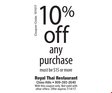 10% Off Any Purchase. Must be $15 or more. With this coupon only. Not valid with other offers. Offer expires 7/14/17. Coupon Code: 101517